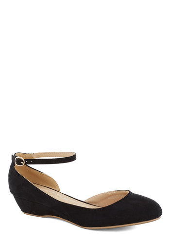 Lauded in Licorice Wedge - Low, Black, Solid, Work, Faux Leather, Basic, Good