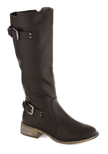 Filly Style Boot - Faux Leather, Brown, Solid, Buckles, Casual, Fall, Low, Good