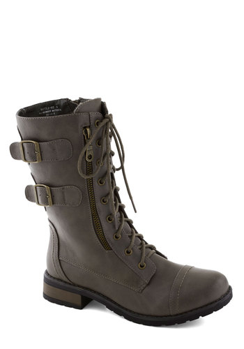 Tread and Done Boot in Pewter - Low, Faux Leather, Faux Fur, Grey, Solid, Buckles, Exposed zipper, Lace Up, 90s, Good