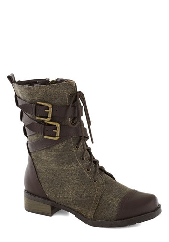 Be Buckle Soon Boot in Brown - Low, Faux Leather, Brown, Solid, Buckles, Fall, Lace Up, Military, Good