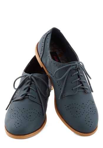 Trips of the Trade Flat in Slate Blue - Flat, Faux Leather, Blue, Solid, Cutout, Casual, Menswear Inspired, Lace Up, Good
