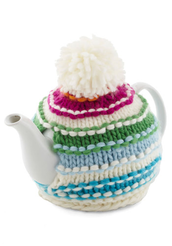 Cup of Cozy Teapot by Present Time - Knit, Multi, Better, White, Stripes, Winter, Folk Art, Press Placement