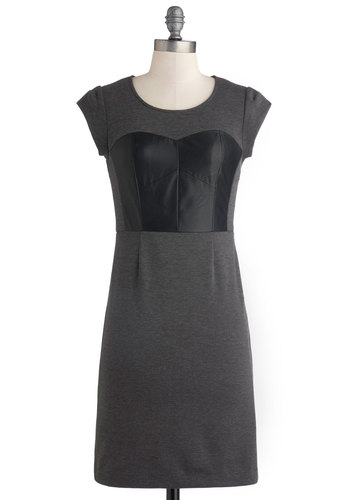 Tinge of Tenacity Dress - Mid-length, Faux Leather, Knit, Grey, Black, Party, Shift, Cap Sleeves, Better, Scoop, Solid
