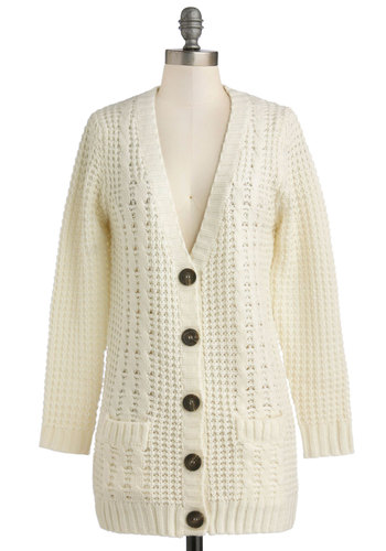 Vanilla Latte Cardigan - Sheer, Knit, Cream, Solid, Buttons, Knitted, Pockets, Long Sleeve, Better, Casual, Winter, 90s, White, Long Sleeve