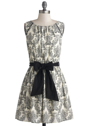 Design in Mind Dress - Cream, Black, Print, Belted, Daytime Party, Good, Boat, Short, A-line, Sleeveless, 20s, Woven