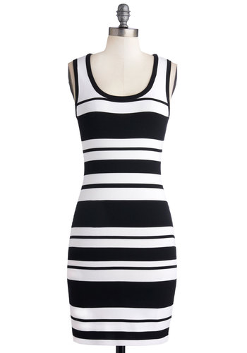 Predict Your Trajectory Dress - Mid-length, Knit, Stripes, Girls Night Out, Bodycon / Bandage, Tank top (2 thick straps), Good, Scoop, Black, White, Mini