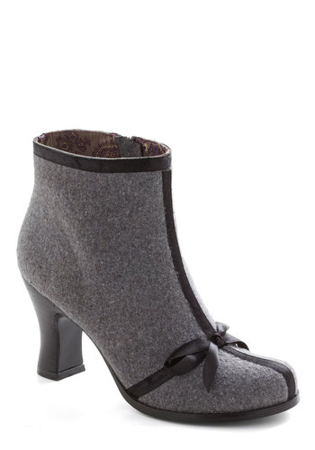 Becoming Along Bootie - Grey, Black, Solid, Bows, Better, Mid, Leather, Fall