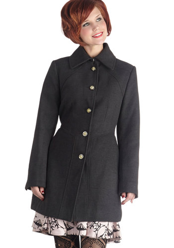 Newport Tour Coat in Charcoal - Long, 3, Grey, Solid, Buttons, Pockets, Long Sleeve, Grey, Gifts Sale