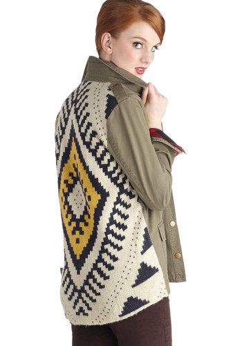 Lookout Point of View Jacket - Mid-length, Denim, Knit, Woven, 1, Green, Yellow, Tan / Cream, Black, Multi, Print, Buttons, Epaulets, Pockets, Casual, Long Sleeve, Fall, Military