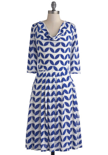 Countdown to Business Dress in Leaves - Long, Knit, Blue, Print, Pockets, Casual, A-line, 3/4 Sleeve, Good, Cowl, White, Work, Variation, Top Rated