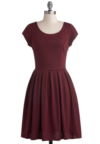 Be a Good Port Dress - Red, Solid, Bows, Cutout, Pleats, Party, A-line, Cap Sleeves, Better, Scoop, Knit, Mid-length