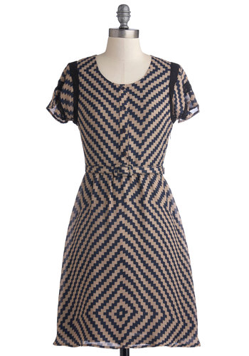 Indigos to Show Dress - Mid-length, Woven, Blue, Print, Belted, Work, A-line, Short Sleeves, Better, Scoop, Tan / Cream