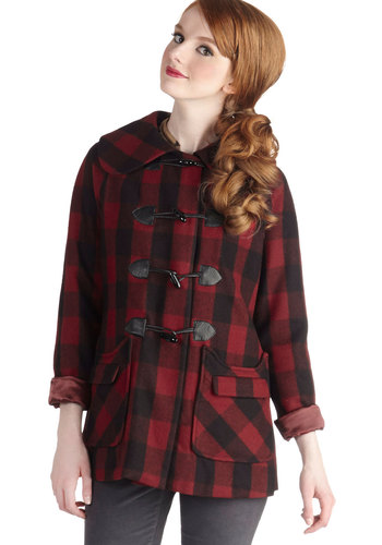 Excitement in the Air Coat by Tulle Clothing - Mid-length, 3, Red, Checkered / Gingham, Pockets, Casual, Long Sleeve, Fall, Winter, 90s, Plaid, Menswear Inspired, Gifts Sale, Red