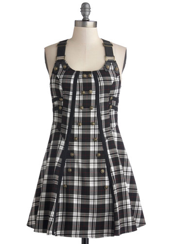Fall Break Dress - Black, Grey, White, Plaid, Buttons, Casual, Racerback, Better, Scoop, Cotton, Short, Steampunk, Scholastic/Collegiate, A-line, 90s