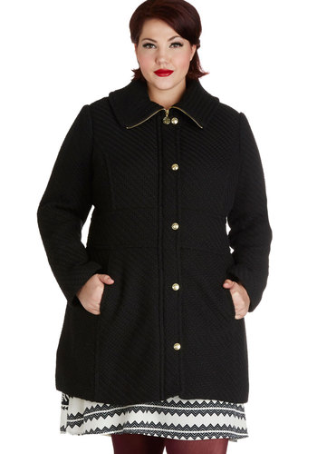 In Any Event Coat in Plus Size - 3, Black, Solid, Buttons, Pockets, Long Sleeve, Fall, Winter, Black, Gifts Sale