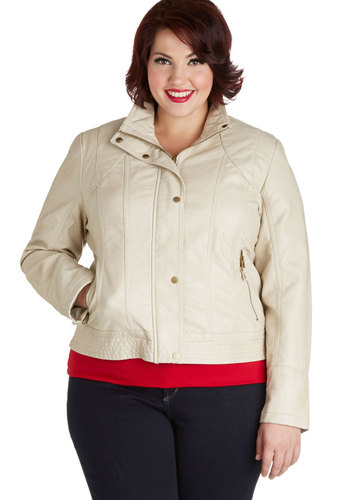 Hit the Town Square Jacket in Plus Size - Faux Leather, 2, Cream, Solid, Buttons, Pockets, Casual, Long Sleeve, Fall, White