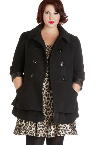 Pep Rally Perfection Coat in Plus Size by Steve Madden - 3, Black, Solid, Buttons, Pockets, Tiered, Double Breasted, Long Sleeve, Fall, Winter, Woven, Black