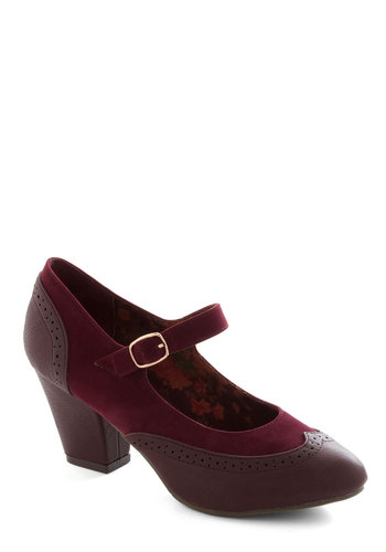 Bliss Is It Heel in Burgundy by B.A.I.T. Footwear - Red, Work, Daytime Party, Better, Mary Jane, Chunky heel, Solid, Fall, Mid