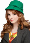 Up Cloche and Personal Hat - Green, Solid, Bows, Better, Vintage Inspired, 20s, Fall