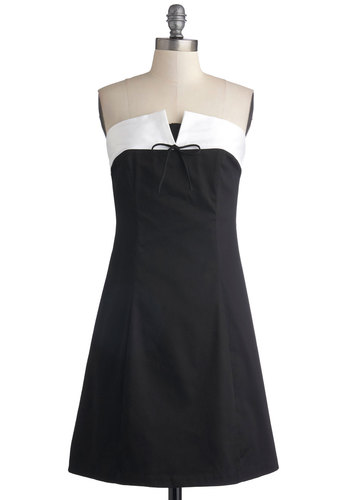Where and Wednesday Dress - Black, White, Solid, Bows, Party, Cocktail, Menswear Inspired, A-line, Strapless, Good, Sweetheart, Mid-length, Cotton, Knit