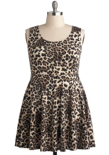 Day Off the Grid Dress in Leopard - Plus Size - Knit, Brown, Black, Animal Print, Casual, A-line, Tank top (2 thick straps), Good, Scoop, Gifts Sale