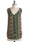 Pathway to My Heart Top - Blue, Brown, White, Buttons, Sleeveless, Good, Long, Chiffon, Woven, Multi, Green, Print, Safari, Green, Sleeveless