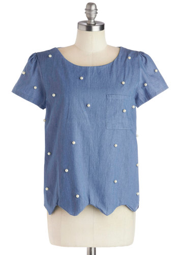 Pearls it All Together Top - Blue, Solid, Pearls, Pockets, Short Sleeves, Mid-length, Cotton, Woven, Scallops, Casual, Scoop