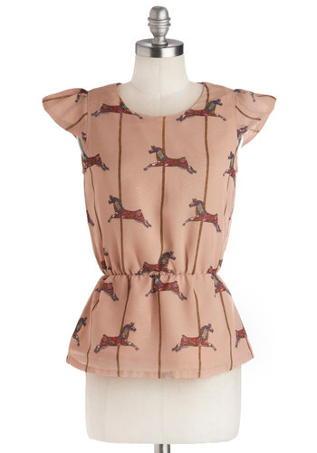 Merry-Go-Astound Top - Yellow, Blue, Pink, Novelty Print, Peplum, Cap Sleeves, Pink, Mid-length, Woven, Chiffon, Pink, Short Sleeve