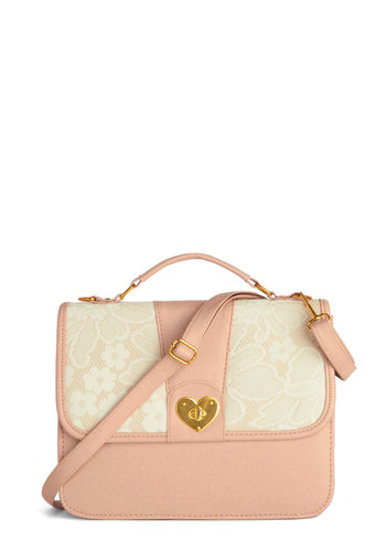 Perfect Plus One Bag - Pink, Solid, Lace, International Designer, Faux Leather, Tan / Cream, Pastel, Valentine's, Lace
