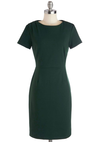 Stay For-evergreen Dress by Myrtlewood - Private Label, Knit, Green, Solid, Cutout, Work, Shift, Short Sleeves, Better, Crew, Vintage Inspired, 40s, Minimal, Exclusives, Mid-length