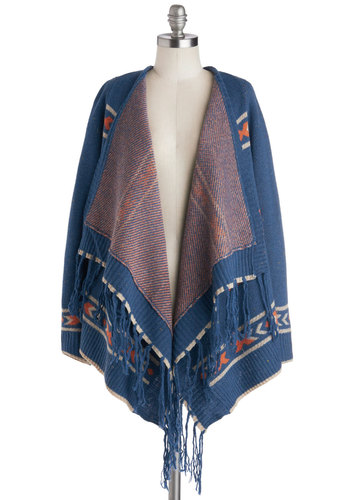 Kindled Spirits Cardigan - Blue, Orange, Fringed, Long Sleeve, Better, Mid-length, Knit, Print, Casual, Boho, Rustic, Fall, Folk Art, Blue, Long Sleeve