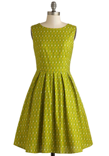 Rock and Bowl Dress by Bea & Dot - Private Label, Mid-length, Cotton, Woven, Green, Yellow, White, Novelty Print, Pleats, Pockets, Party, A-line, Sleeveless, Better, Scoop, Exclusives