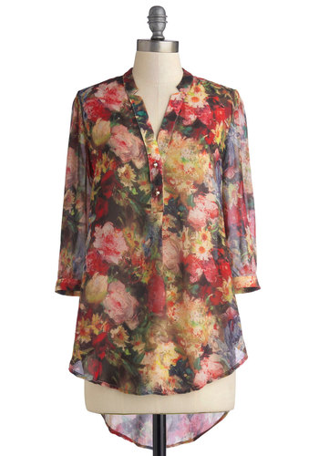 Still Life of the Party Top - Multi, Floral, 3/4 Sleeve, Good, Long, Sheer, Woven, Buttons, Multi, 3/4 Sleeve