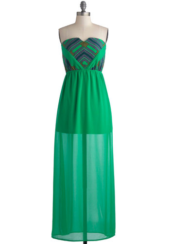 Cruise Through Your Day Dress - Green, Purple, Daytime Party, Beach/Resort, Maxi, Strapless, Good, Sweetheart, Long, Chiffon, Woven, Print