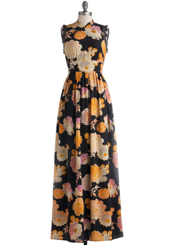 Rooftop Garden Party Dress by Corey Lynn Calter - Long, Woven, Floral, Lace, Cocktail, Maxi, Sleeveless, Best, Multi, Orange, Pink, Tan / Cream, Black, Vintage Inspired, 60s, 70s, Luxe, Party
