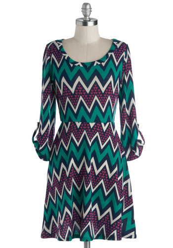 Electric Atmosphere Dress - White, Chevron, Casual, A-line, 3/4 Sleeve, Good, Scoop, Knit, Multi, Green, Blue, Pink, Mid-length, Winter