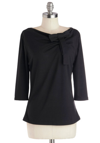 Theater Thrills Top - Black, Solid, Bows, 3/4 Sleeve, Better, Knit, Mid-length, Work, Boat, Black, 3/4 Sleeve
