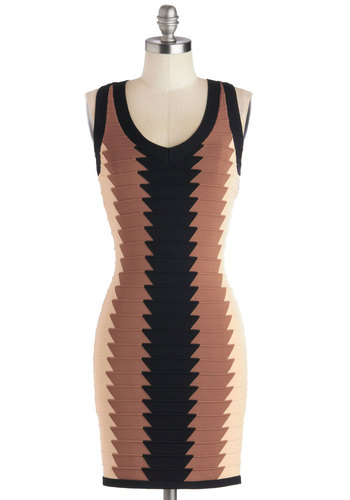 Dulce de Leche Dessert Dress - Short, Knit, Girls Night Out, Bodycon / Bandage, Tank top (2 thick straps), Good, V Neck, Brown, Tan / Cream, Black, Cutout, Mini