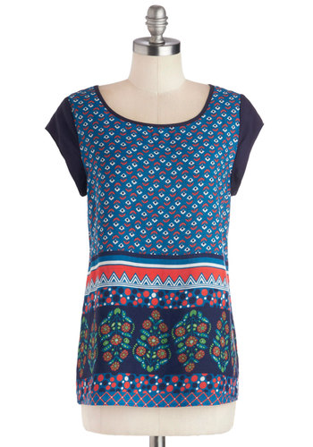 Decoration Inspiration Top - Blue, Red, White, Casual, Good, Mid-length, Woven, Multi, Print, Boho, Cap Sleeves, Scoop, Folk Art, Top Rated, Blue, Short Sleeve