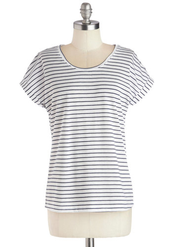 Utmost of Ease Top - Mid-length, Knit, White, Blue, Stripes, Casual, Short Sleeves, Nautical, Basic, Scoop, White, Short Sleeve