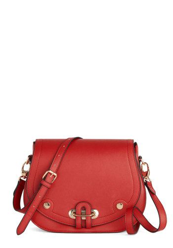 Blazing Satchel by Louche - Faux Leather, Red, Gold, Solid