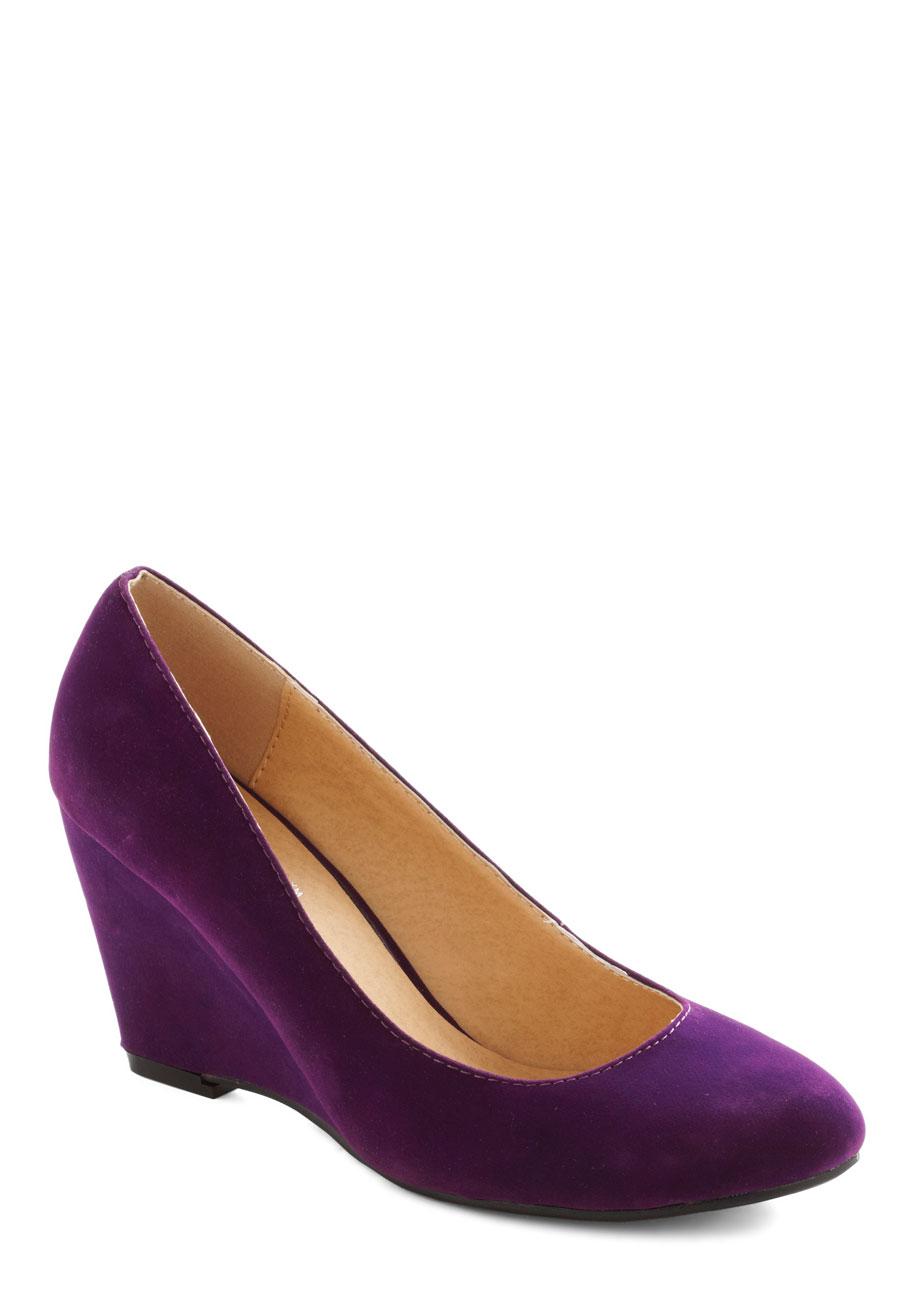 purple wedge heels is heel