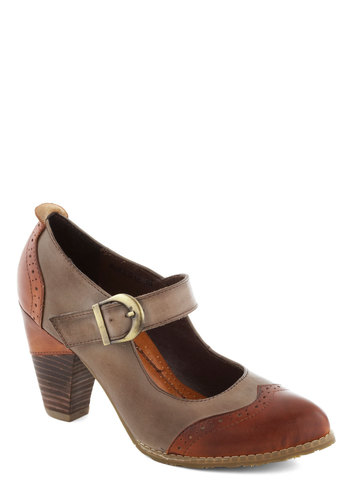 Gramophone Glam Heel - Mid, Leather, Tan, Brown, Solid, Work, Vintage Inspired, 40s, Mary Jane, Best, 20s, 30s