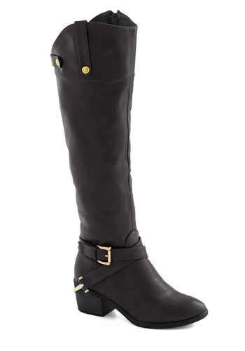 Fall Foal-iage Boot in Black - Mid, Faux Leather, Black, Solid, Buckles, Good, Variation