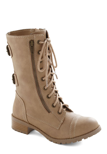Nonchalant Jaunt Boot - Low, Tan, Solid, Buckles, Safari, Steampunk, Good, Lace Up, Casual, Military, Faux Leather, 90s