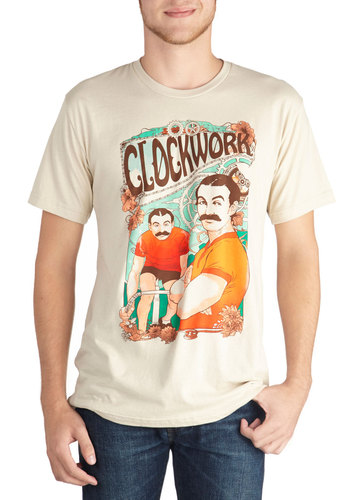 Clockworks Like a Charm Men's Tee - Long, Jersey, Cotton, Knit, Cream, Multi, Novelty Print, Steampunk, Short Sleeves, Crew