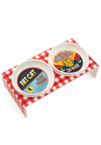 Pet Picnic Feeding Bowl Set - Multi, Good, Red, White, Checkered / Gingham, Print with Animals, Novelty Print, Cats