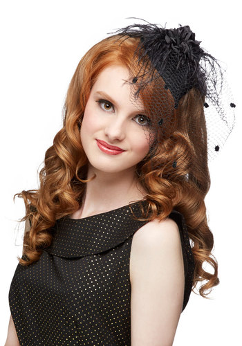 A Modern Fascinator in Noir - Black, Flower, Lace, Special Occasion, Wedding, Party, Lace