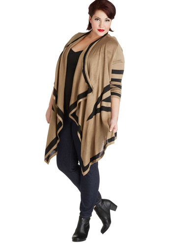 Amidst the Mountains Cardigan in Plus Size - Knit, Tan, Black, Stripes, Casual, Long Sleeve, Brown, Long Sleeve