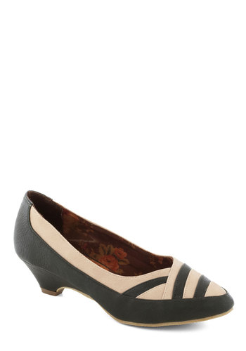Pretty Parquetry Heel by Bait Footwear - Green, Work, Mid, Faux Leather, Tan / Cream, Vintage Inspired, 30s, 40s, Better